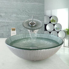 Bathroom Water hand Painted Tempered Glass Basin Sink Bowl mixer Waterfall tap