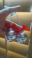 """Merry Christmas Laura Personalize Christmad Tree Ornaments • lot of 2 • used 2"""""""