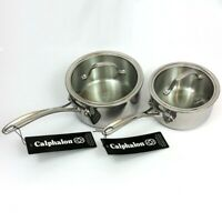 NEW 4-PC Calphalon Tri-Ply Stainless Steel Covered Sauce Pans 1.5QT & 2.5QT
