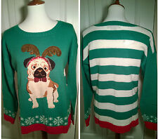 Christmas Dog Ugly Sweater Party Festive Women's Green/Red/White Gold Sequin NEW
