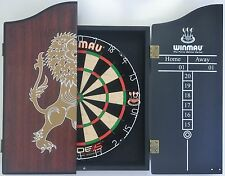 Winmau Blade 5 FIVE Dart Board & Rosewood LION Wooden Cabinet + 6 x Darts SET