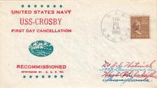 US Naval Cover Cachet Ship Cancel USS Crosby DD-164 Recommissioned 1940