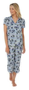 Ladies Short Sleeved Button Front Cropped Leg Pyjamas. Aqua Leaf or Floral Strip
