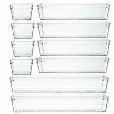 New ListingClear Plastic Drawer Organizer Tray for Vanity Cabinet Assorted,Set of 10 Clear