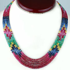 5 Strands Natural Emerald Ruby Sapphire Necklace AAA Finest Grade Gemstones