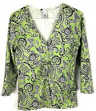 Carole Little Women's Silk Blend Sweater Cardigan Green and Black Size Small