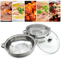 Stainless Steel 3 Tier Steamer Induction Steam Steaming Pot Cookware 28cm + Lid