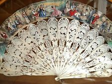 VERY FINE FRENCH ANTIQUE 19TH CENTURY MOTHER OF PEARL & SILVER INLAY LADIES FAN