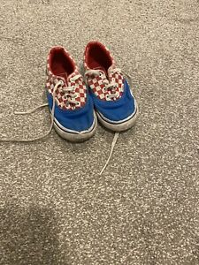 Boys Vans blue checked trainers size 8