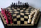 échec, jeu d'échecs pour trois, 54 x 47 cm, bois