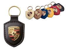 Porsche Original Black Leather Key Fob with Colour Crest in Presentation Box