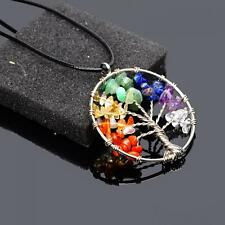 Bead Quartz GEMSTONE Chips Stone Pendant Necklace Life Tree Chain
