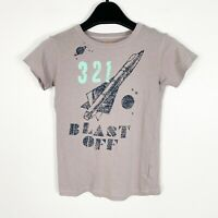Crewcuts J.Crew Boys Short Sleeve Space Spaceship T-Shirt Gray Black Size 6-7