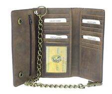 Men's RFID Premium Brown Leather Long Trifold Motorcycle Chain Checkbook Wallet