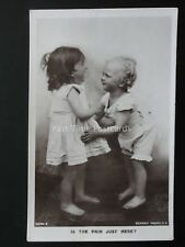 Two Children Playing IS THE PAIN JUST HERE ? c1905 RP by Rotary 11214.E