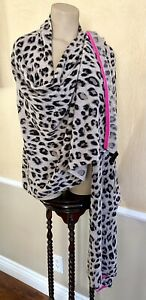 NWT CHARTER CLUB OVERSIZED 100% CASHMERE SCARF WRAP CHEETAH PRINT TAUPE $199