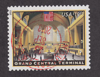 US Sc 4739 used. 2013 $19.95 Grand Central Terminal Express Mail Bullseye, VF