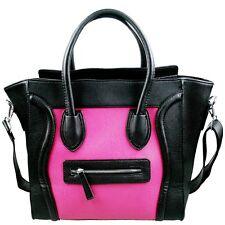 Miss Lulu Leather Style Shoulder Handbag Ladies Black & Pink Large Tote Bag Gift