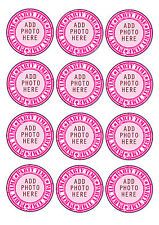 12 x 6cm Personalised ADD PHOTO Hen/Birthday Party Edible CUPCAKE Toppers ICING