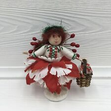 Handmade Christmas Natalie Wood and Pipe Cleaner Festive Doll Figurine Signed
