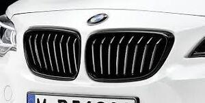 Black Kidney Grille Set Genuine BMW F22 M Performanc Style 2 Series 51712336815