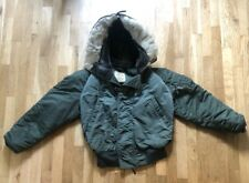 VTG US ARMY MILITARY SiZe Small. JACKET HOOD FUR FLYING MEN GREEN N-2B USAF