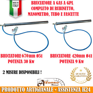 Kit BRUCIATORE A GAS FORNO A LEGNA 670mm Ø51 potenza 30kw oppure 420mm Ø41 9kw