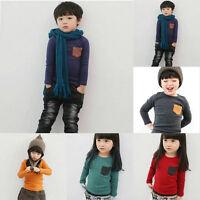 Kids Long Sleeve Casual T-shirt Pocket Decor Boy Girl O Neck Shirt Clothes 2-7Y