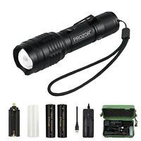 CREE LED Torch Light PROZOR Handheld Super Bright T6 LED Flashlight USB Recharge