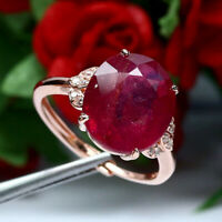 NATURAL 11 X 13 mm. OVAL RED RUBY & WHITE CZ RING 925 STERLING SILVER