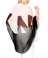 DKNY Women's Logo Shadow Chiffon Scraf One Size Wrap Hijab Black White