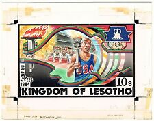 LESOTHO 1984 ATHLETICS TORCH BEARER OLYMPICS ARTWORK ADOPTED DESIGN #439 UNIQUE