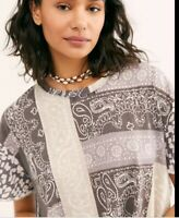 New We The Free People printed Clarity S Charcoal Combo T Shirt Leopard NWT