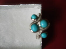 STERLING SILVER TURQUOISE Scattered Band Ring~size 6~NEW