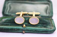 Vintage Gold cufflinks with a white insert design #C861