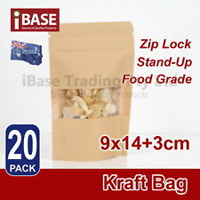 20x Stand Up Bag Kraft Paper Seal Packaging Window Zip Lock Pouch Food Sealing S
