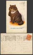 More details for louis wain artist signed, a black cat kitten i'm here for luck 1924 old postcard