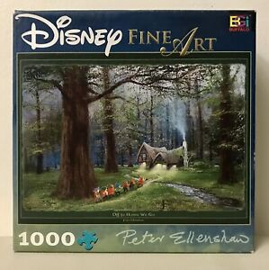 Disney Fine Art OFF TO HOME WE GO Seven Dwarfs 1000 Piece Jigsaw Puzzle W/Poster