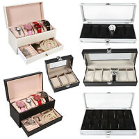 3/4/6/12 Gird Slots Leather Watch Case Gift Box Display Jewelry Storage Holder J
