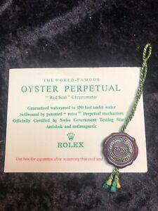 Rolex Chronometer Certification, Cigarette card,  Red Seal, And Plastic Folder