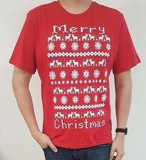 Red White Merry Christmas T Shirt Large Reindeer Snowflake Retro Mens Tee Xmas