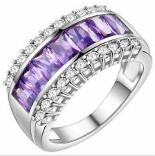 NEW Women Purple Gemstone Zircon Crystal Silver Wedding Ring Jewelry Size 6