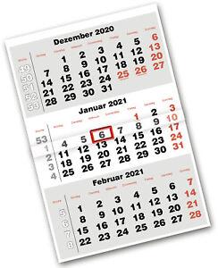 Dreimonatskalender 3-Monatskalender Wandkalender 2021 30x44cm gefaltet auf A4