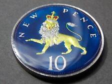 1969  Hand Enamelled  10p  Pence  50th Birthday Wedding Lion Elizabeth II