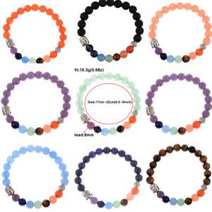 7 Chakra Bracelet Colorful Charged Energy Boho Buddha Head Women Yoga Bracelets