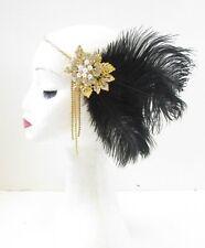 Black & Gold Feather Headpiece Vintage 1920s Flapper Headband Great Gatsby 9AU