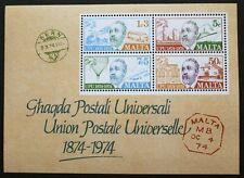 Centenary of UPU stamp sheet, Malta, 1974, SG ref: MS531, MNH