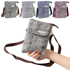 Small Crossbody Handbags Cell Phone Purse Wallet Leaves Pattern Change Pouch Bag