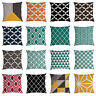 Cotton Linen Throw Pillow Case Geometric Cushion Cover Home Sofa Decor 18x18 in
