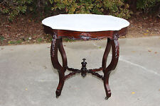 Fine Victorian Rococo Rosewood Turtle Marble Top Table ~Ca.1850